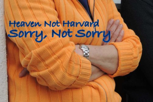 What does sorry mean? What does repentance and contrition look like? Are you Sorry, Not Sorry? HeavenNotHarvard.com