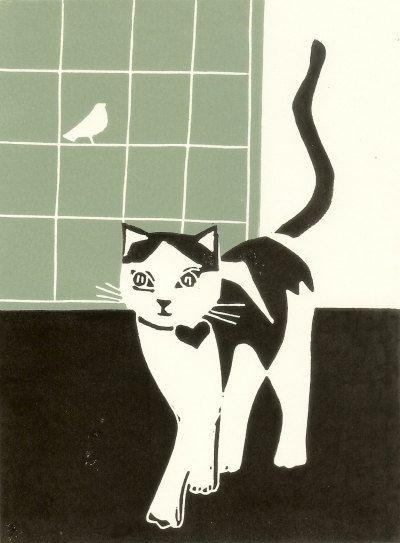 Cat Print Linocut Block Print Original by TheBluebirdGallery, £18.00