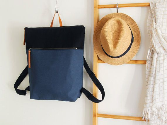 Unisex, Teal blue and black canvas Backpack, laptop backpack, diaper bag with zipper closure and front zipper pocket, Design by BagyBags https://www.etsy.com/shop/bagybags