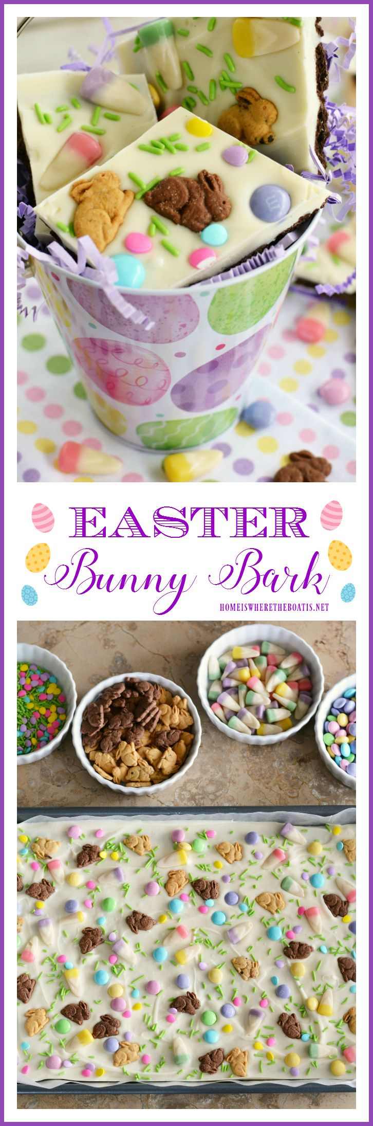 Easter Bunny Bark! An easy no-bake treat to satisfy everybunny's sweet tooth! | homeiswheretheboatis.net