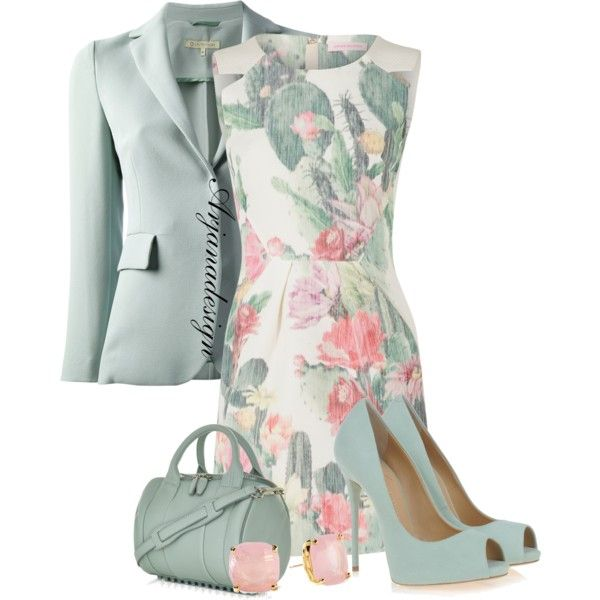 1st Day of Spring Work Outfit, created by arjanadesign on Polyvore