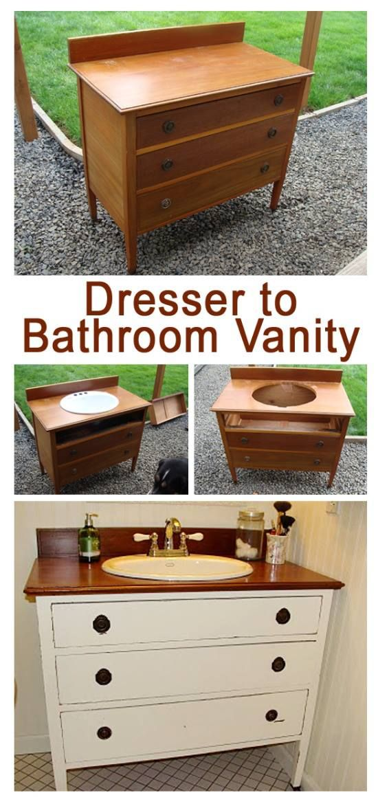 Dresser to Bathroom Vanity. Great Farmhouse style project!