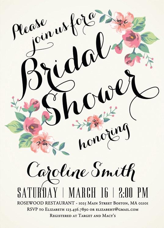 Printable bridal shower invitation vintage floral for Flower bridal shower invitations