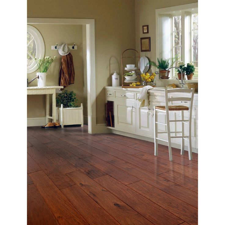 shop style selections 5in w prefinished hickory engineered hardwood flooring nutmeg at
