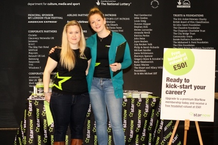BFI: Jasmine Taggart and Felicity Jackson at the #starnow stand at the BFI Future Film Festival.
