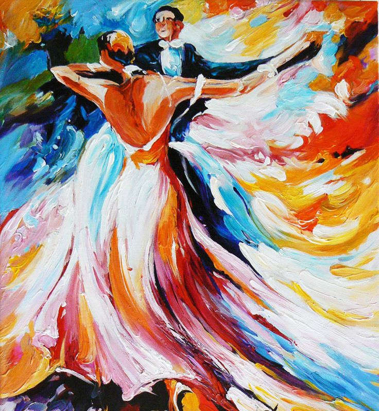 Dancers Abstract Oil Painting on Canvas Colourful Impasto Wall Decor