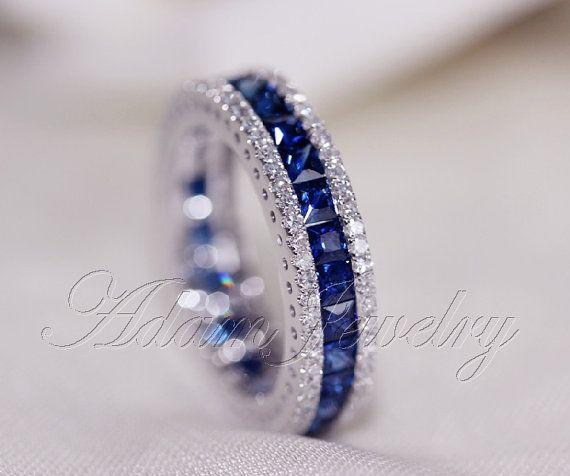 https://www.bkgjewelry.com/ruby-rings/142-18k-yellow-gold-diamond-ruby-ring.html Anniversary Ring Fantastic Princess Cut Natural Ceylon Sapphires by AdamJewelry