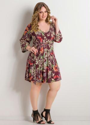 Vestido Decote em V (Floral) Plus Size                                                                                                                                                                                 Mais