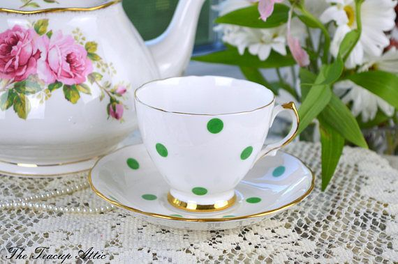 Royal Vale White Teacup and Saucer With Green Polka Dots