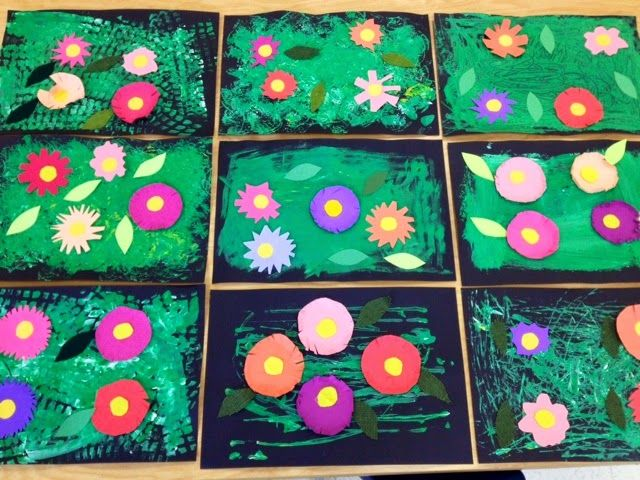 More Kindergarten Warhol Gardens-painting with sponges and toy cars- Cut and Paste flowers-Art with Mr. Giannetto Blog