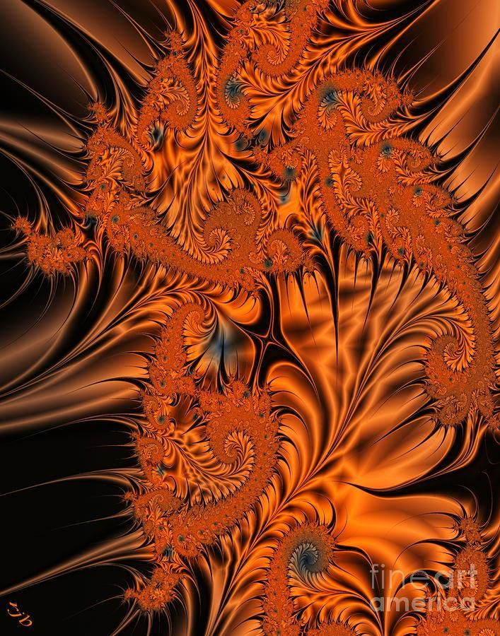 """Silk in Orange"" by Ronald J. Bissette. [Fractal Art]"