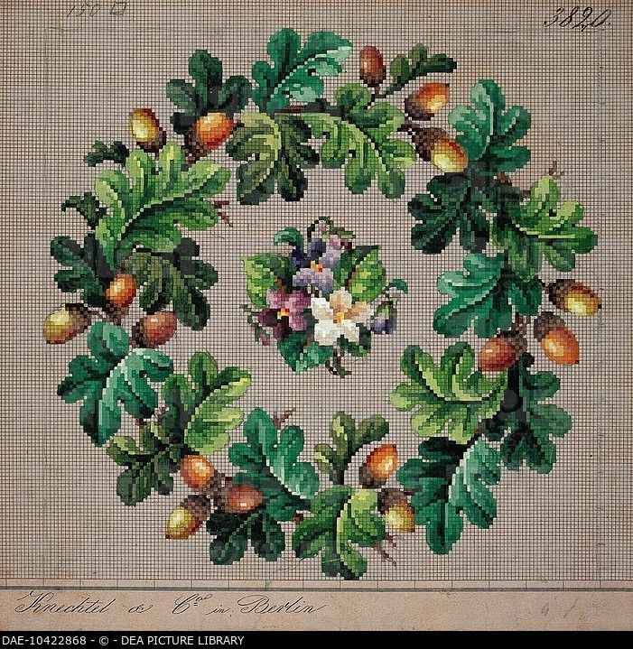 Embroidery, Germany 19th century. Crown of oak leaves, acorns and a bunch of violets embroidery.... DAE-10422868 © DEA PICTURE LIBRARY