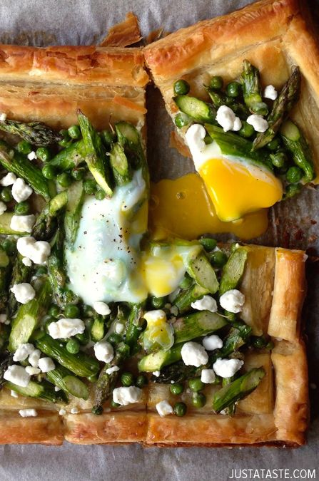 Asparagus and Egg Tart with Goat Cheese . lunch .