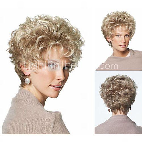 clásico duendecillo sintéticas de las pelucas cortas pelucas rubias de pelo rizado para mujeres pelucas naturales con flequillo 2017 - €29.39