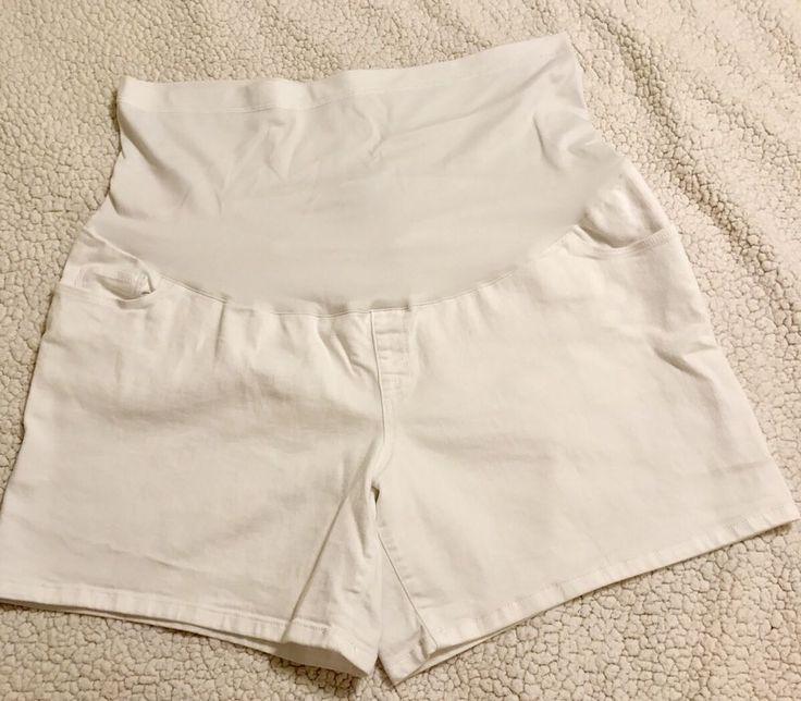LIZ LANGE White Midi Jean Shorts Womens Plus XXL OverBelly Full Panel  | eBay