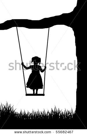 girl on a swing vector - stock vector