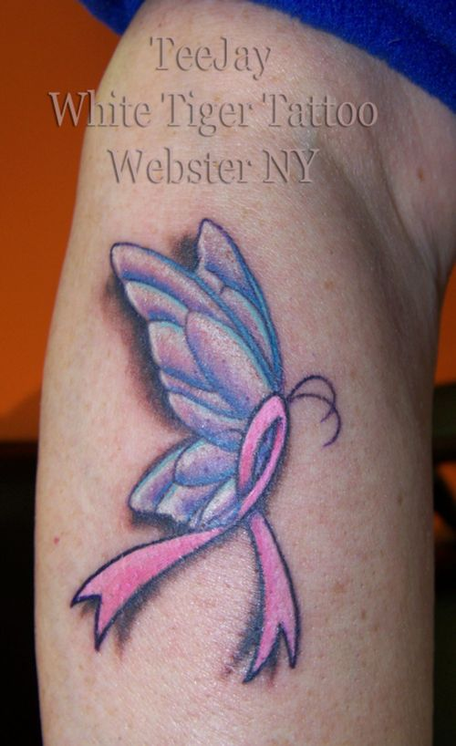Butterfly breast cancer ribbon tattoo