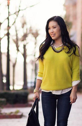 cute & little blog | neon yellow sweater, black white polka dot shirt, rag bone skinny jeans, celine | spring outfit