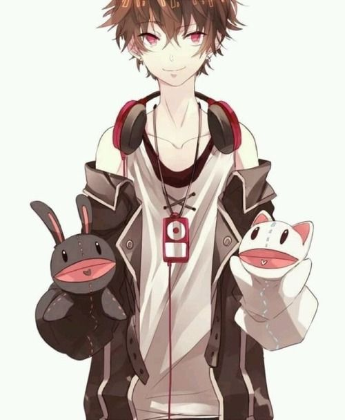 Anime Boy Brown Hair Red Eyes Headphones Puppet