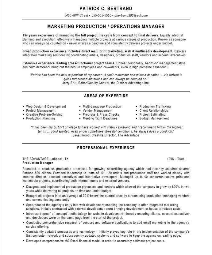 marketing production manager free resume samplessample - Manager Resume Samples Free