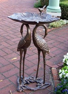 Two Cranes Holding Lily Pad Bird Bath in Antique Bronze Finish contemporary-bird-baths