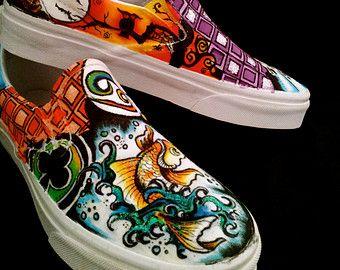 Painted Vans Shoes | Original painted Vans shoes gift ni ghtmare before Christmas pug bull ...
