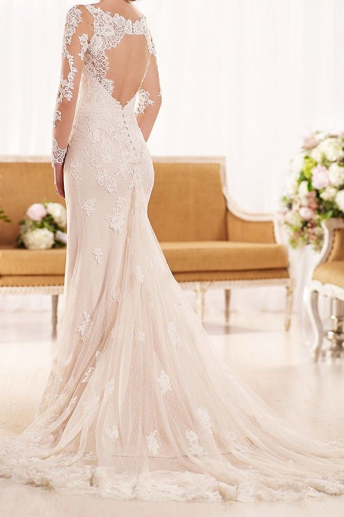 Boy do I love this romantic sheath bridal gown! Essense of Australia has an incredible collection of wedding gowns.