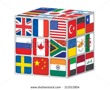 cube with flags of the world illustration