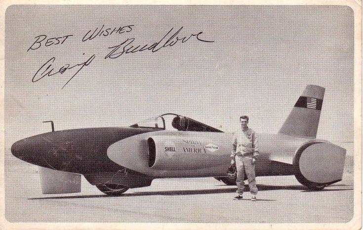 Craig Breedlove breaks the land speed record at the Bonneville salt flats, driving a jet car named Spirit of America.