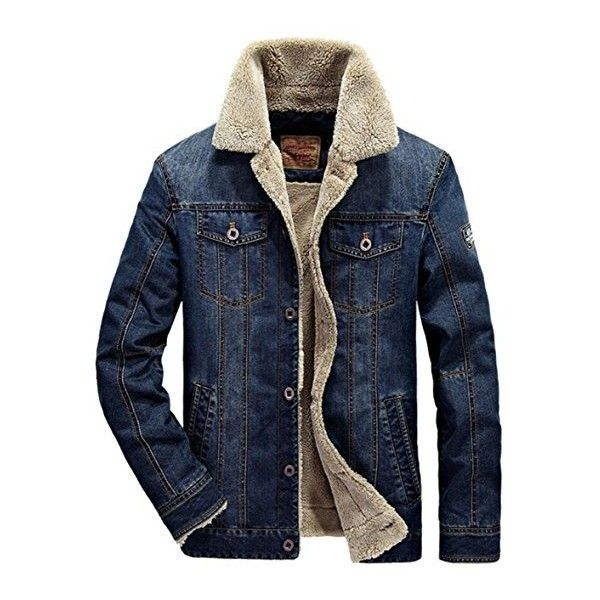 JEWOSOR Mens Plus Cashmere Winter Warm Fur Collar Denim Jacket... ($41) ❤ liked on Polyvore featuring men's fashion, men's clothing, men's outerwear, men's coats, mens parka, mens windbreaker jacket, mens fur collar coat, mens coats and mens parka coats