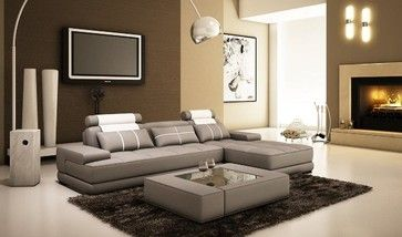 Divani Casa 5005A Mini Modern Grey and White Bonded Leather Sectional Sofa with - modern - Sectional Sofas - New York - NYC Bed Furniture $2,330