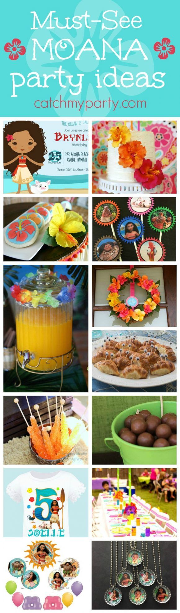 Check out this fabulous Roundup of Moana birthday party ideas! You'll find great ideas for things like decorations, birthday cake, a party favor and much much more!! See more party ideas and share yours at CatchMyParty.com