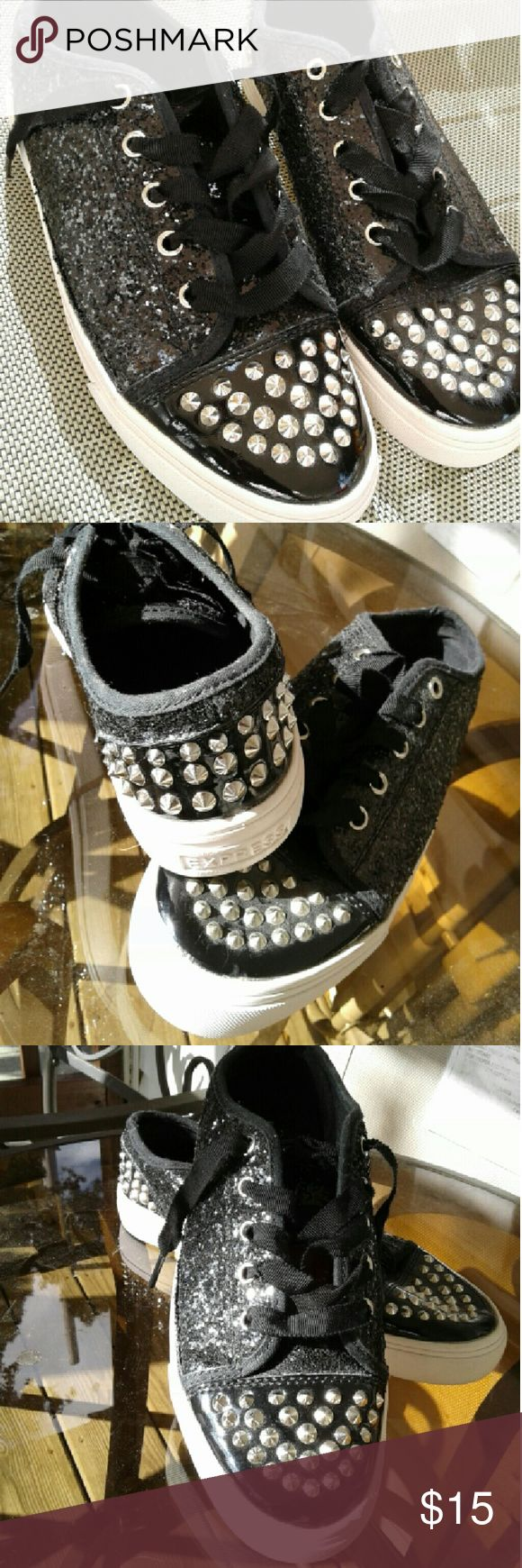 Rhinestone and Glitter Express Shoes Extremely cute sneakers . These are very decorative with stones and glitter. express written on back of soles. Very Gently used shoe. Express Shoes Sneakers