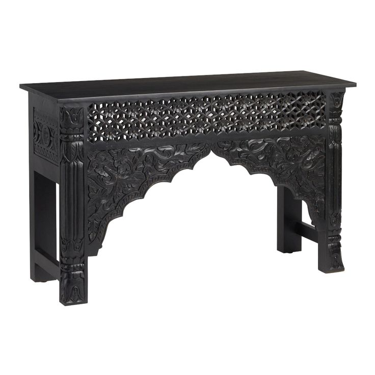 Black carved wood console table by world market console