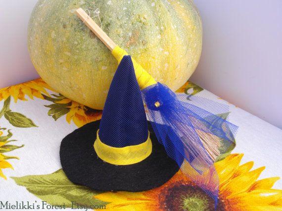 Decorazioni Halloween. Mini cappello e scopa da di MielikkisForest