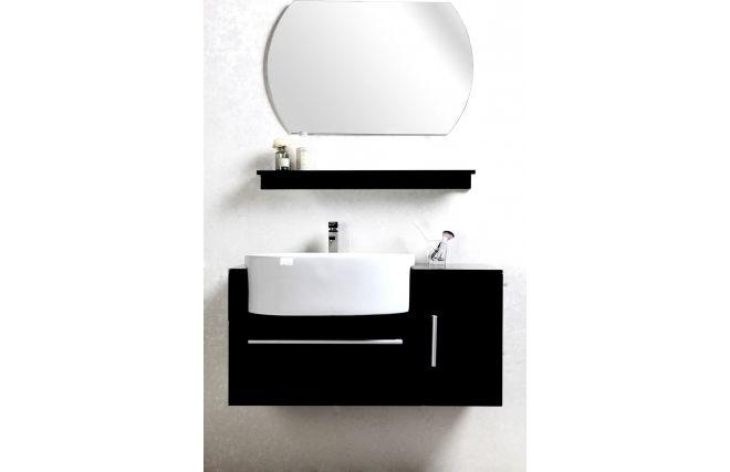 Meuble de salle de bain Sullivan noir vasque, meuble sous vasque, étagère et miroir pas cher prix Soldes Meubles de salle de bain Miliboo 299,00 € TTC 399€ soit -25%