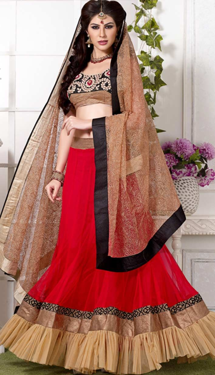 Get Beautiful Traditional #Red Nett #BridalLehangaCholi Product code: KBL-22567 Price: INR 7953 (Unstitch Blouse), Color: Red Shop Online now: http://www.efello.co/Bridal_Beautiful-Traditional-Red-Nett-Bridal-Lehanga-Choli_18391