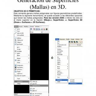 AutoCad 3D Generación de Superficies (Mallas) en 3D.OBJETOS 3D O PRIMITIVAS:Este comando genera maltas poligonales con figuras geométricas predefinidas.Medi. http://slidehot.com/resources/semana3-3d.49804/