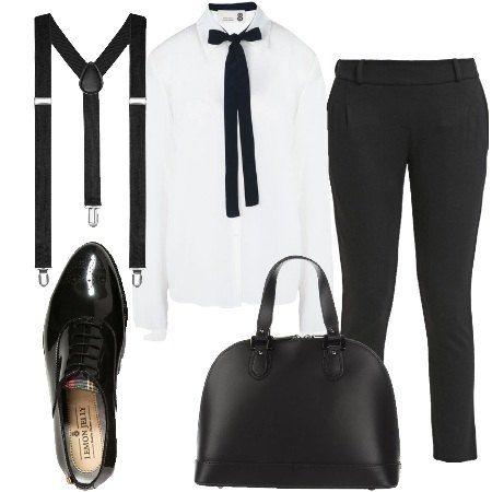 Pantaloni tinta unita, lunghezza 7/8 e con elastico in vita sono abbinati a camicia maniche lunghe con fiocco al collo. Bretelle, scarpe stringate e borsa a mano definiscono l'outfit.
