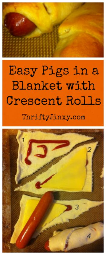 Easy Pigs in a Blanket recipe using Crescent Rolls.