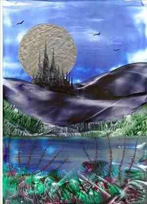 silver moon castle one of my encaustic art paintings