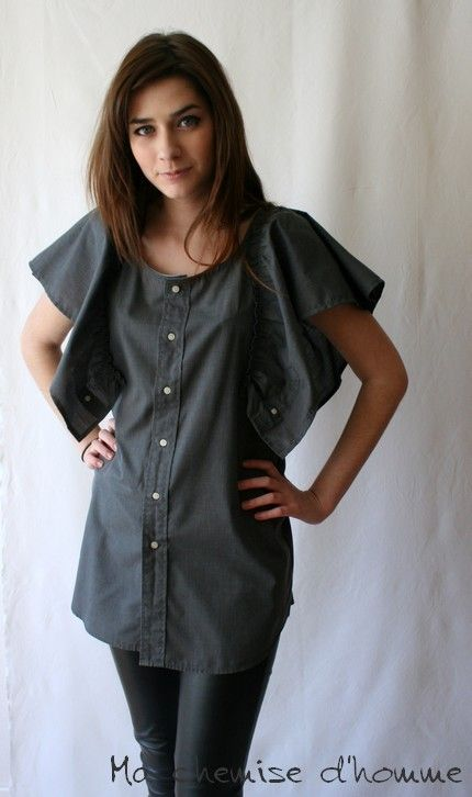 Wear butterfly shirt  - Upcycled man's shirt dark gray  - Maela - US 6 / EU 38. €75,00, via Etsy.