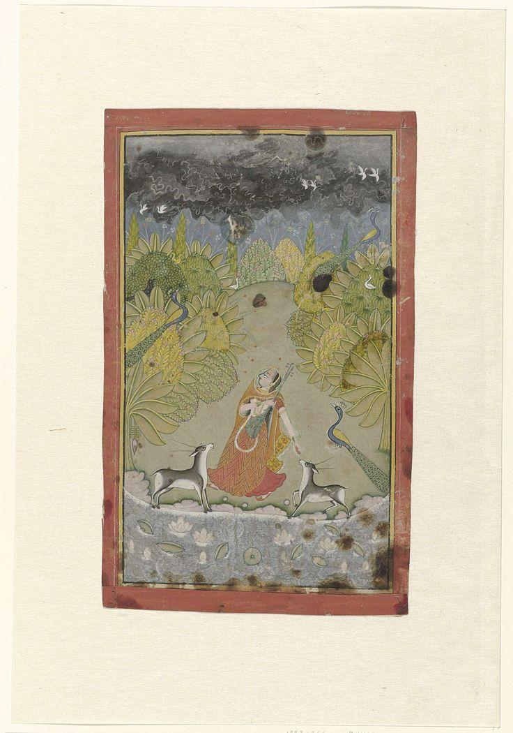 Anonymous | Todi ragini, Anonymous, c. 1770 | In een landschap met bloeiende bomen en struiken en een vijver met lotusbloemen staat een jonge vrouw met een tampoera, twee antilopen aan weerskanten waarvan zij er een voert, achter haar een pauw en verder nog twee pauwen in de bomen en enkele vogels in de bomen en vliegend tegen de donkere onweerslucht. Rond de voorstelling een geel biesje in zwarte kaderlijnen, daaromheen opgeplakte rode strookjes.
