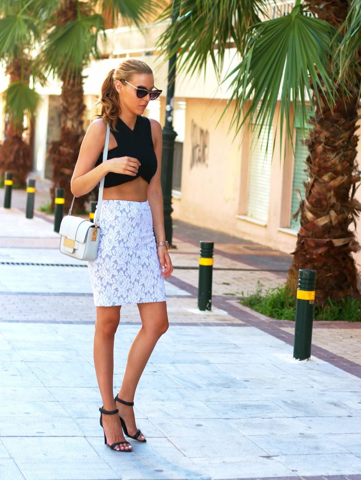 Black crop top, midi skirt and barely there heels http://pearlsandrosesdiary.blogspot.gr/2015/07/exotic-elegance.html