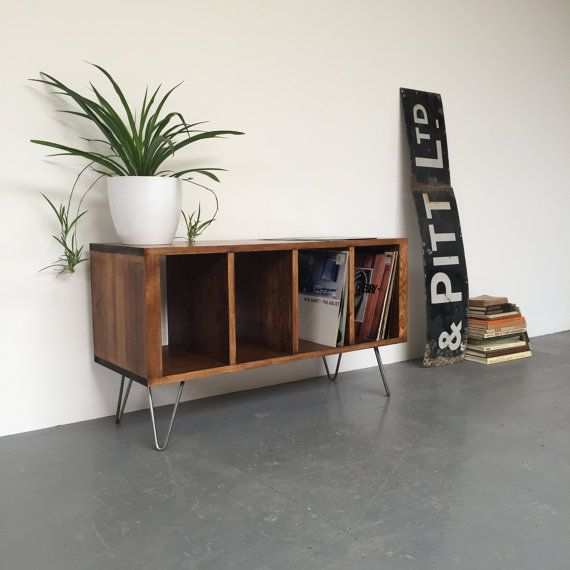 ***Private listing for Einni***  Size: Medium 120cm (47.5) Finish: Antique Pine  This stylish storage console table is ideal for use as a vinyl storage cabinet, to house up to around 450 vinyl records, or it works equally well as as a media unit, sideboard or TV stand. It is hand made from high quality softwood timber and is fitted with steel hairpin legs. It is hand stained in a range of colours (see last picture) and sealed with a hardwearing wax-oil stain for a low-sheen, natural…