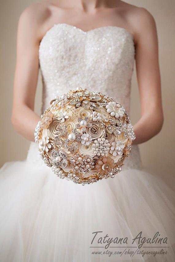ca46b31555343 Ivory Cream Brooch Bouquet Champagne Beige Bridal Wedding Bouquet ...
