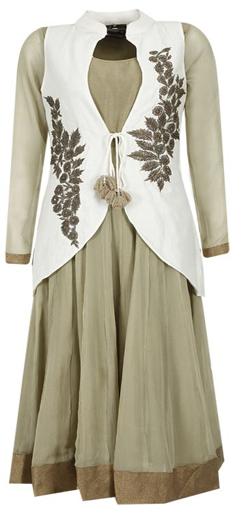 Olive green anarkali with ivory embroidered jacket by EKRU.