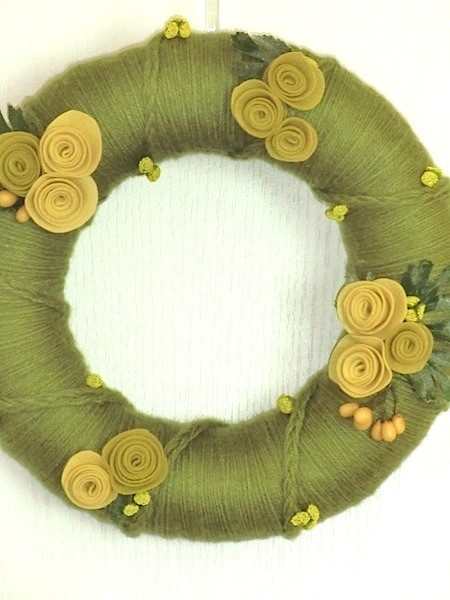 "Handcrafted 12"" Yarn Wreath - Green Fields and Wildflowers"