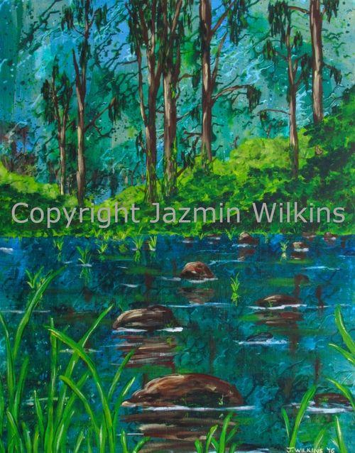 Wild (Christmas Creek) - Acrylic on Canvas - 2016  61cm X 77cm  Painted on 10oz…
