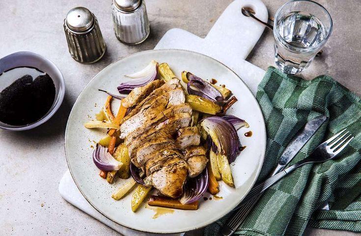 Soyaglasert kyllingfilet med bakte grønnsaker – Sunne oppskrifter fra Roede-kjøkkenet